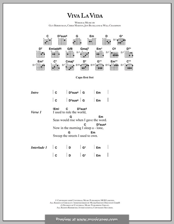 Piano-vocal score: Lyrics and chords by Chris Martin, Guy Berryman, Jonny Buckland, Will Champion