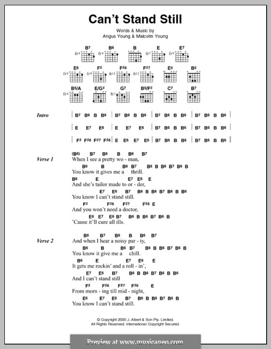 Can't Stand Still (AC/DC): Lyrics and chords by Angus Young, Malcolm Young