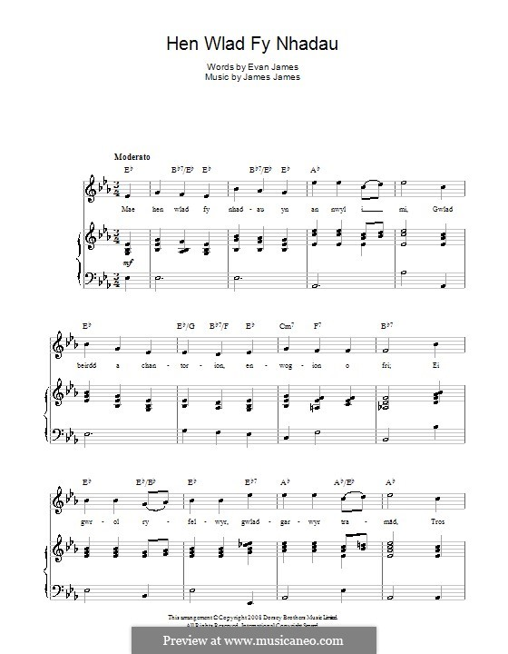 Hen Wlad Fy Nhadau (Unofficial Welsh National Anthem): For voice and piano (or guitar) by James James