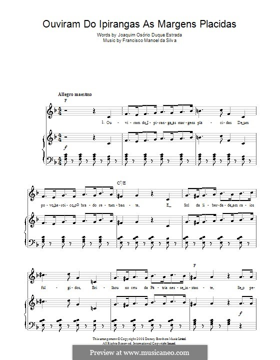 Brazilian National Anthem: For voice and piano (or guitar) by Francisco Manuel da Silva