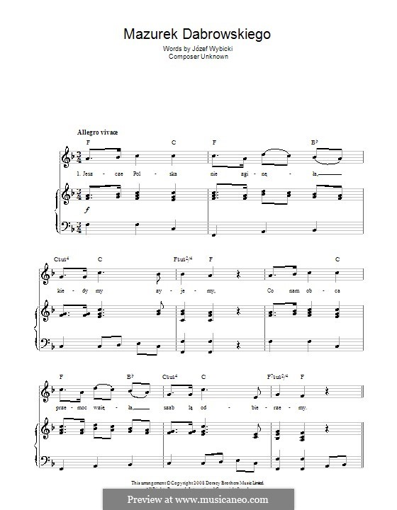 Mazurek Dabrowskiego (Polish National Anthem): For voice and piano (or guitar) by Jozef Wybicki