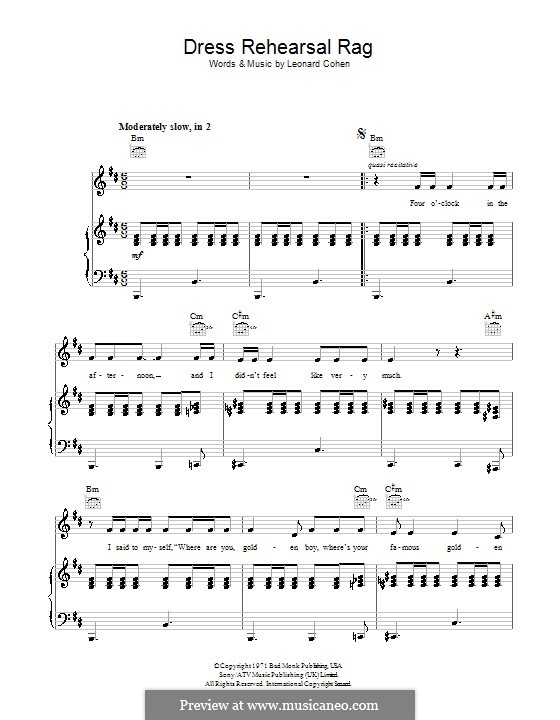 Dress Rehearsal Rag: For voice and piano (or guitar) by Leonard Cohen