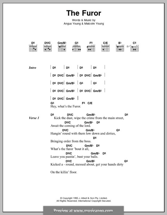 The Furor (AC/DC): Lyrics and chords by Angus Young, Malcolm Young