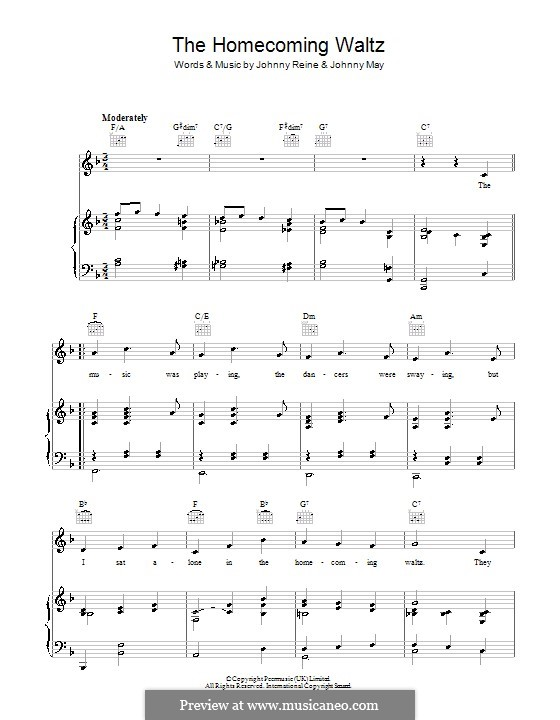 The Homecoming Waltz (Vera Lynn): For voice and piano (or guitar) by John S. May, Johnny Reine
