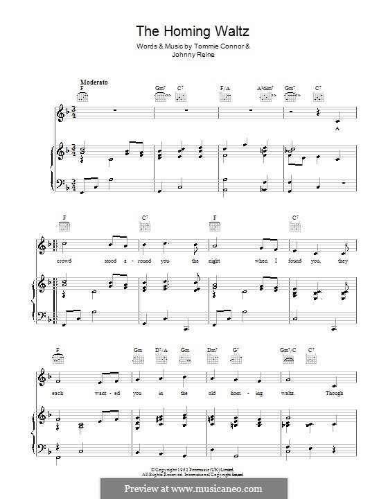 The Homing Waltz (Dickie Valentine): For voice and piano (or guitar) by Johnny Reine, Tommie Connor