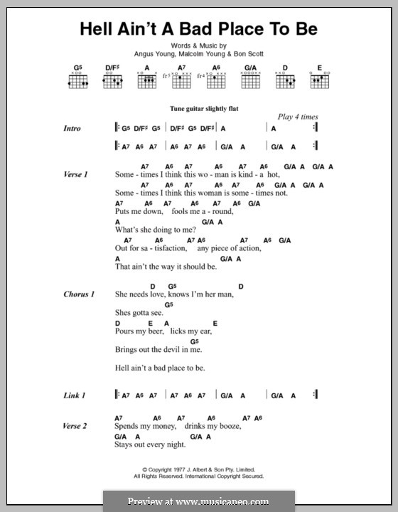 Hell Ain't a Bad Place To Be (AC/DC): Lyrics and chords by Angus Young, Bon Scott, Malcolm Young