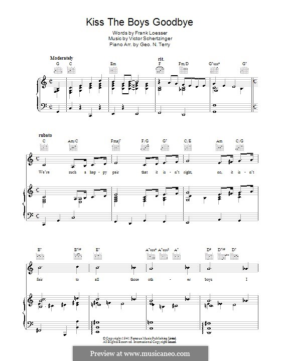 Kiss the Boys Goodbye: For voice and piano (or guitar) by Victor Schertzinger