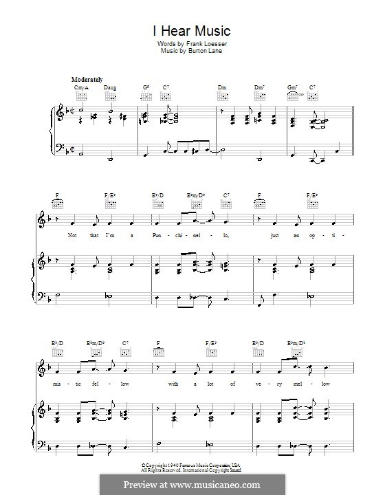 I Hear Music: For voice and piano (or guitar) by Burton Lane