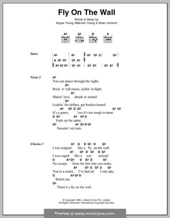 Fly on the Wall (AC/DC): Lyrics and chords by Angus Young, Brian Johnson, Malcolm Young