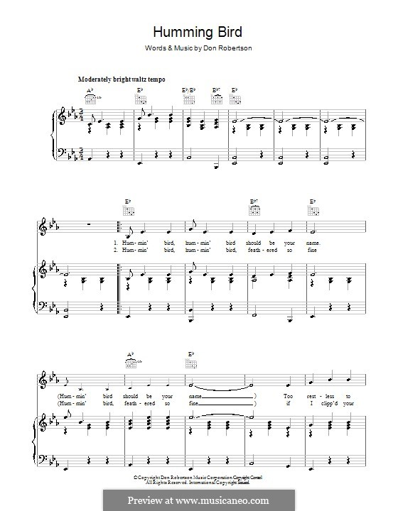 Humming Bird (Frankie Laine): For voice and piano (or guitar) by Don Robertson