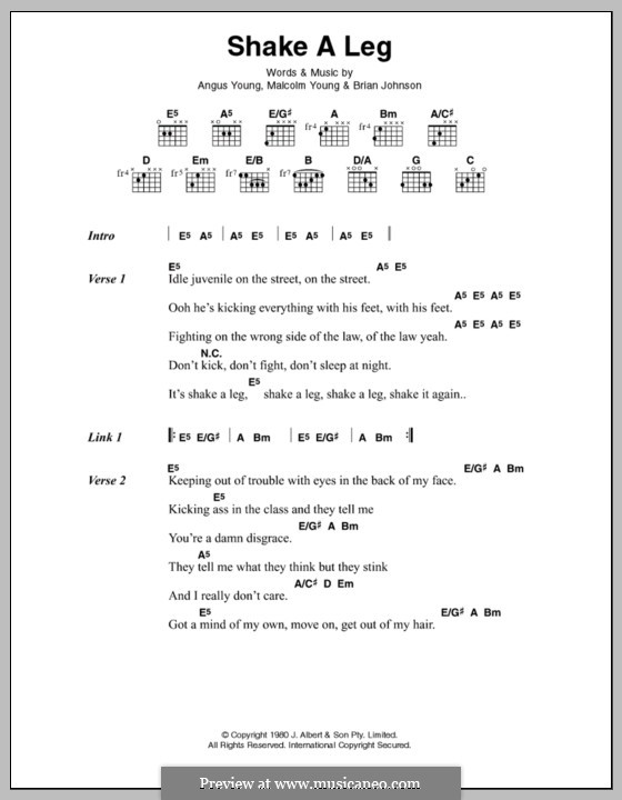 Shake a Leg (AC/DC): Lyrics and chords by Angus Young, Brian Johnson, Malcolm Young
