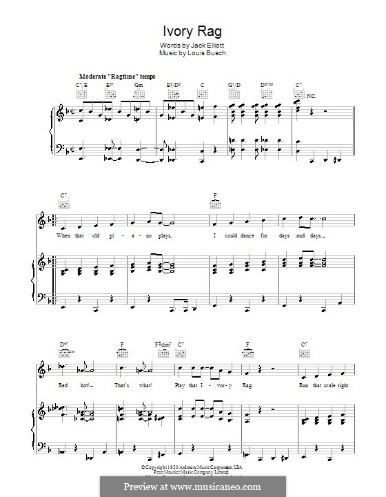 Ivory Rag: For voice and piano (or guitar) by Lou Busch