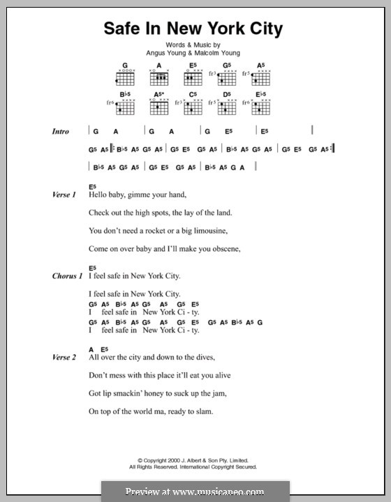 Safe in New York City (AC/DC): Lyrics and chords by Angus Young, Malcolm Young