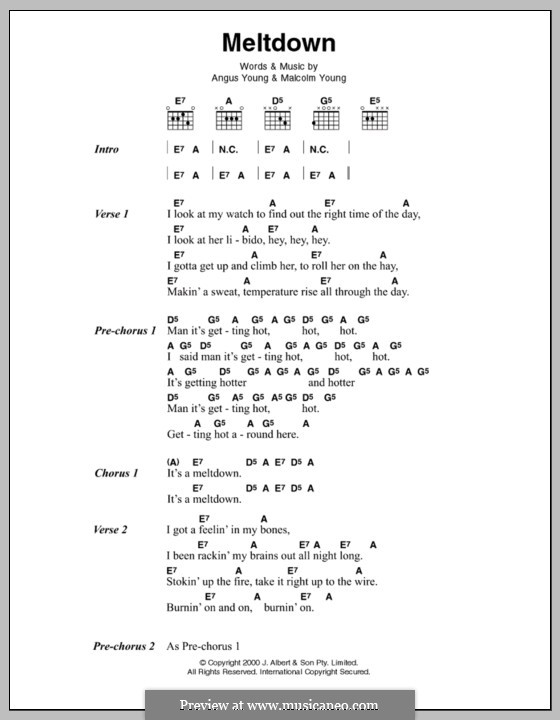Meltdown (AC/DC): Lyrics and chords by Angus Young, Malcolm Young