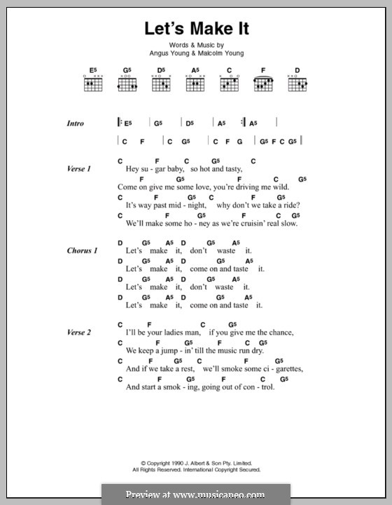 Let's Make It (AC/DC): Lyrics and chords by Angus Young, Malcolm Young