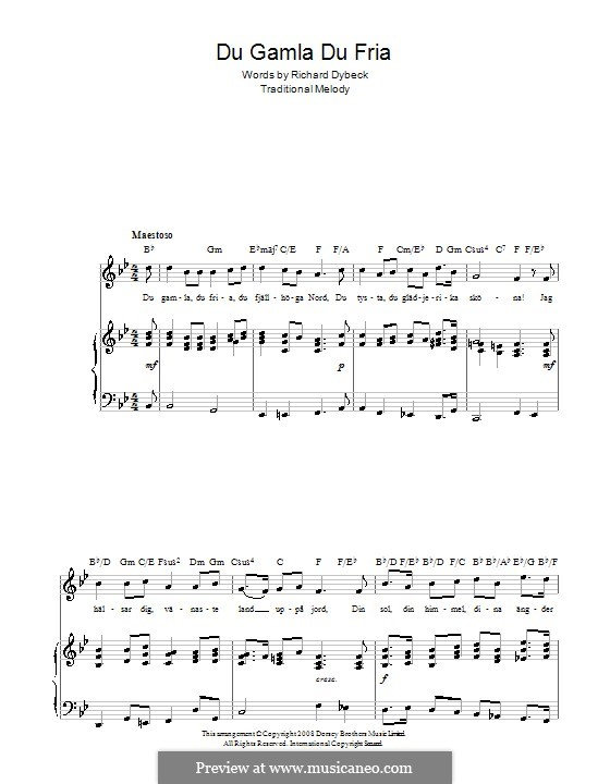 Du Gamla Du Fria (Swedish National Anthem): For voice and piano (or guitar) by folklore