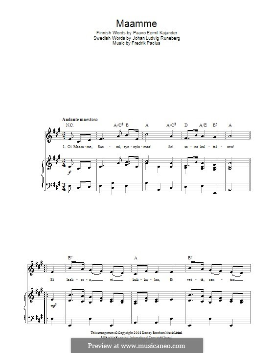Maamme (Finnish National Anthem): For voice and piano (or guitar) by Fredrik Pacius