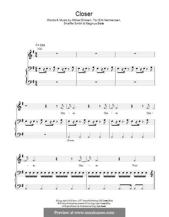 Closer (Ne-Yo): For voice and piano (or guitar) by Magnus Beite, Mikkel Storleer Eriksen, Ne-Yo, Tor Erik Hermansen