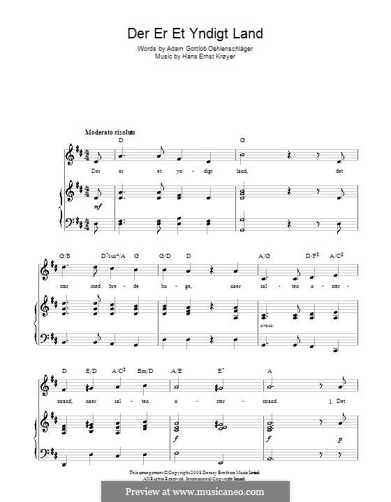 Der er et Yndigt Land (Danish National Anthem): For voice and piano (or guitar) by Hans Ernst Kroyer