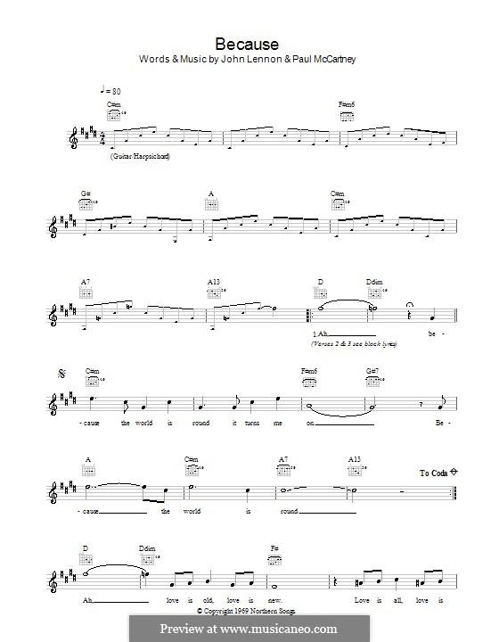 Because (The Beatles): Melody line, lyrics and chords by John Lennon, Paul McCartney