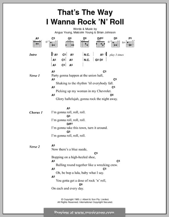 That's the Way I Wanna Rock 'n' Roll (AC/DC): Lyrics and chords by Angus Young, Brian Johnson, Malcolm Young