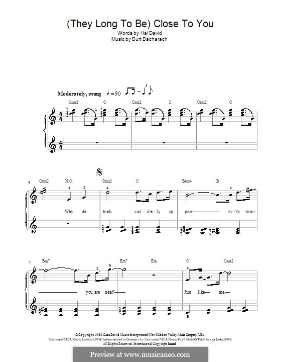 Close to You (They Long to be): For easy piano (Carpenters) by Burt Bacharach