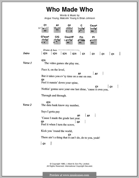 Who Made Who (AC/DC) by A. Young, B. Johnson, M. Young on MusicaNeo