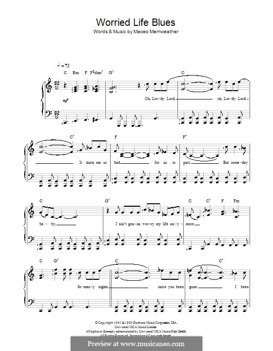 Worried Life Blues: For easy piano by Maceo Merriweather