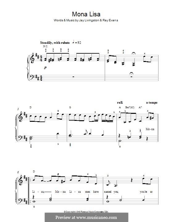 Mona Lisa (Nat King Cole): For easy piano by Jay Livingston, Raymond Evans
