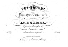 Potpourri for Piano and Guitar, Op.53: Parts by Johann Nepomuk Hummel
