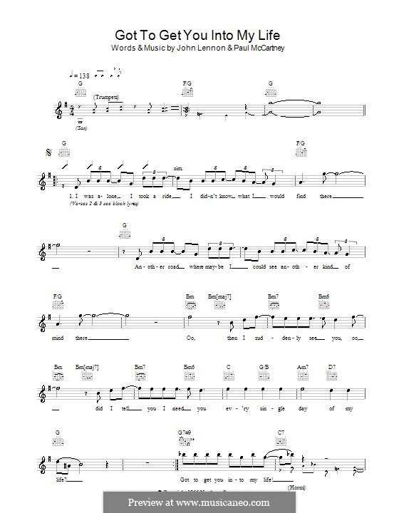 Got To Get You Into My Life (The Beatles): Melody line, lyrics and chords by John Lennon, Paul McCartney