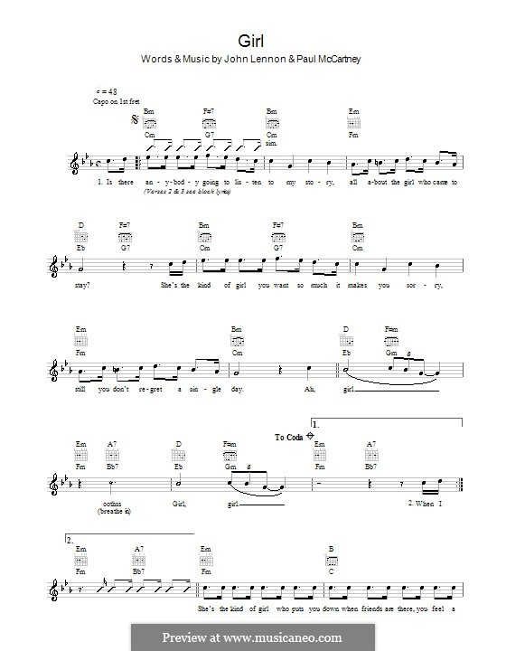 Girl (The Beatles): Melody line, lyrics and chords by John Lennon, Paul McCartney