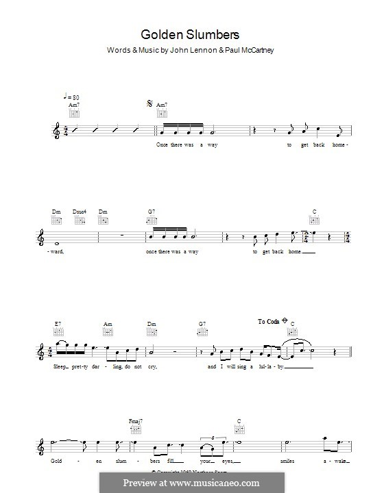 Golden Slumbers (The Beatles): Melody line, lyrics and chords by John Lennon, Paul McCartney