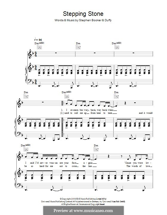 Stepping Stone (Duffy): For voice and piano (or guitar) by Steve Booker