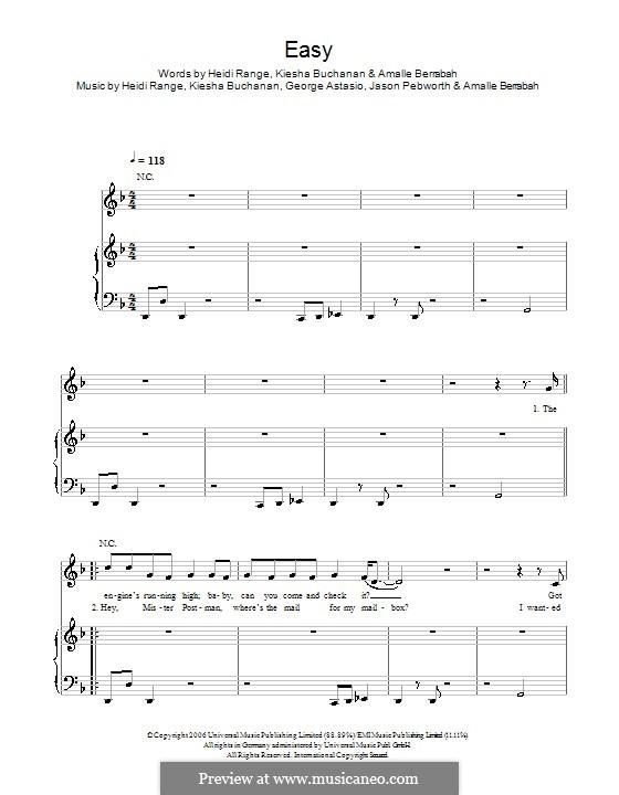 Easy (Sugababes): For voice and piano (or guitar) by Amalle Berrabah, George Astasio, Heidi Range, Jason Pebworth, Keisha Buchanan