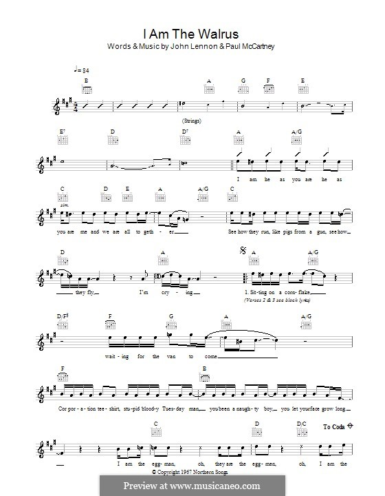 I am the Walrus (The Beatles): Melody line, lyrics and chords by John Lennon, Paul McCartney