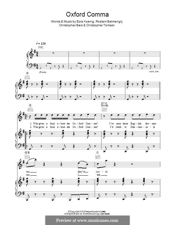 Oxford Comma (Vampire Weekend): For voice and piano (or guitar) by Chris Baio, Christopher Tomson, Ezra Koenig, Rostam Batmanglij