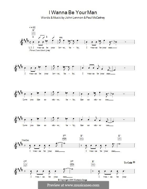 I Wanna Be Your Man (The Beatles): Melody line, lyrics and chords by John Lennon, Paul McCartney