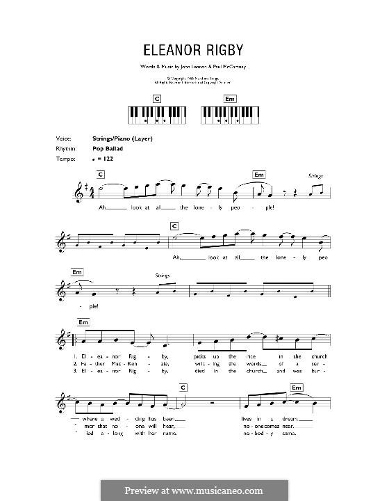 Eleanor Rigby (The Beatles): For keyboard by John Lennon, Paul McCartney