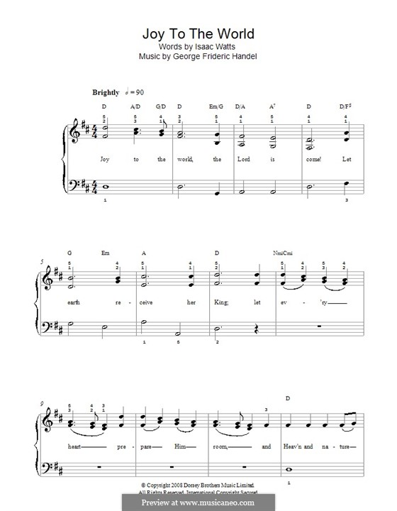 Joy to the World, for Piano: Easy version (with chords) by Georg Friedrich Händel