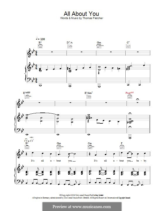 All About You (McFly): For voice and piano (or guitar) by Tom Fletcher