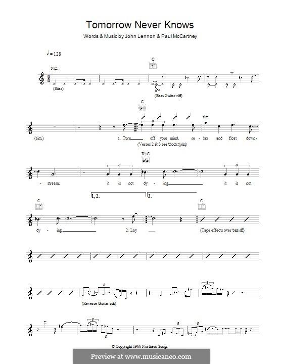 Tomorrow Never Knows (The Beatles): Melody line, lyrics and chords by John Lennon, Paul McCartney