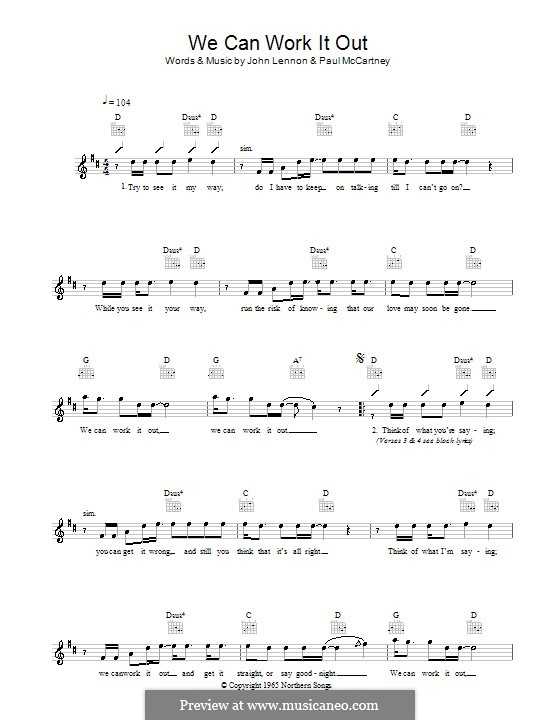 We Can Work it Out (The Beatles): Melody line, lyrics and chords by John Lennon, Paul McCartney