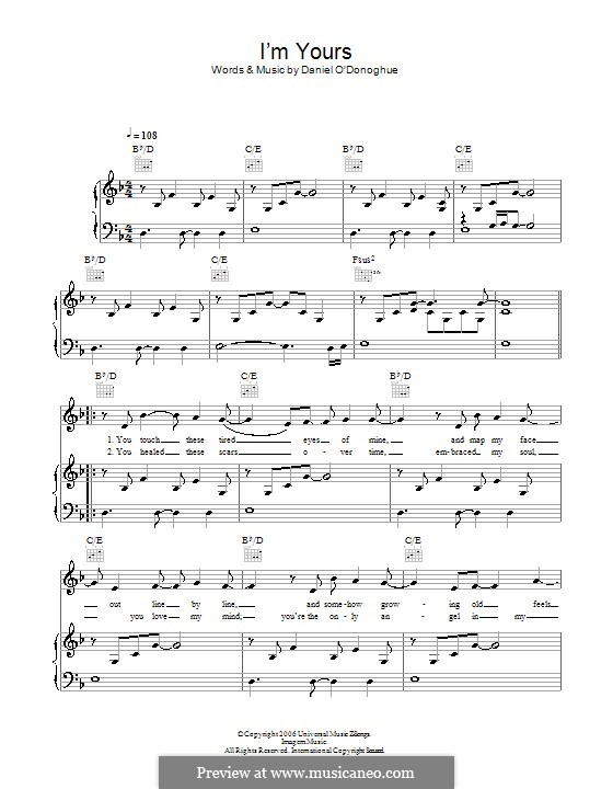I'm Yours (The Script): For voice and piano (or guitar) by Danny O'Donoghue