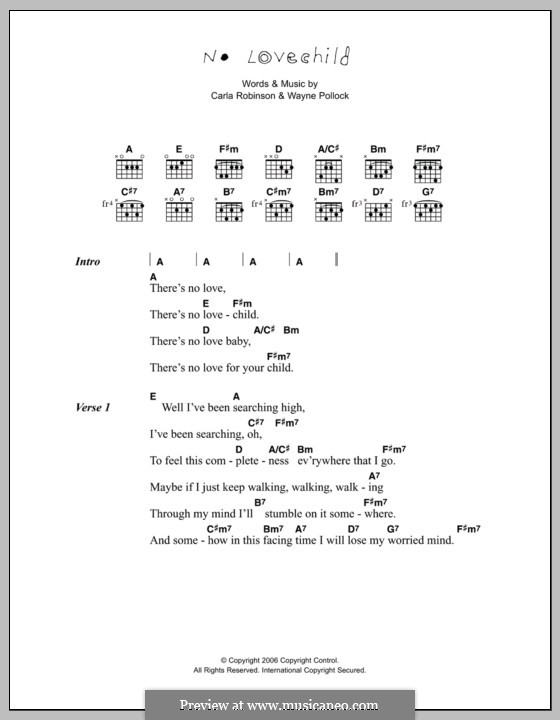 No Love Child (Corinne Bailey Rae): Lyrics and chords by Carla Robinson, Wayne Pollock