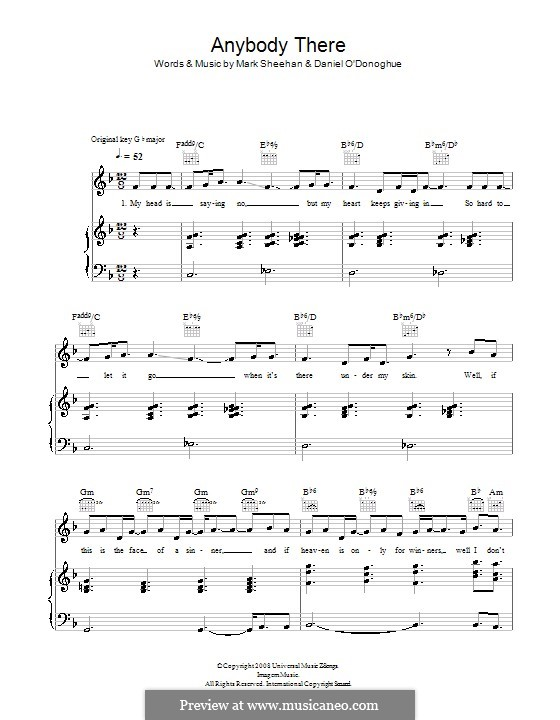 Anybody There (The Script): For voice and piano (or guitar) by Danny O'Donoghue, Mark Sheehan