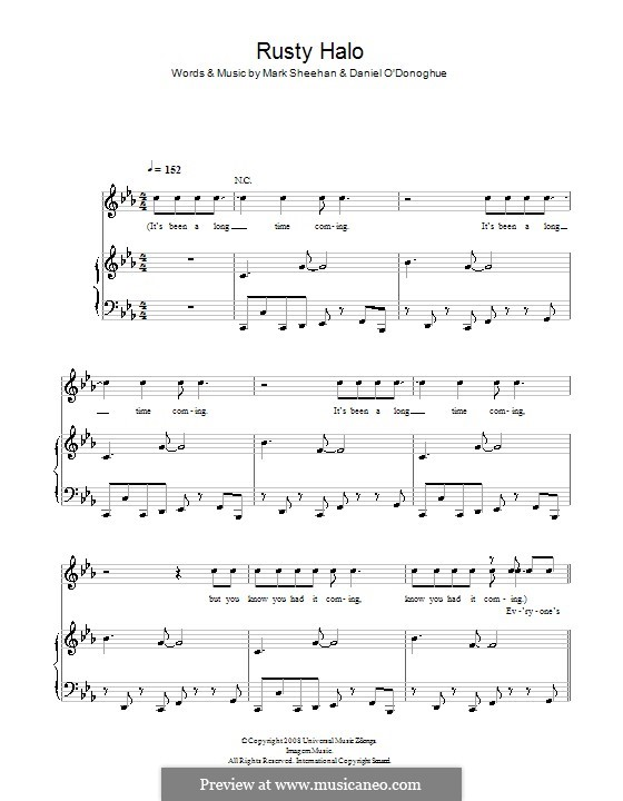 Rusty Halo (The Script): For voice and piano (or guitar) by Danny O'Donoghue, Mark Sheehan