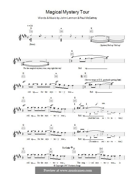 Magical Mystery Tour (The Beatles): Melody line, lyrics and chords by John Lennon, Paul McCartney