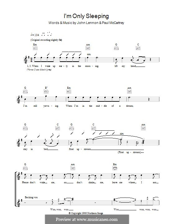 I'm Only Sleeping (The Beatles): Melody line, lyrics and chords by John Lennon, Paul McCartney