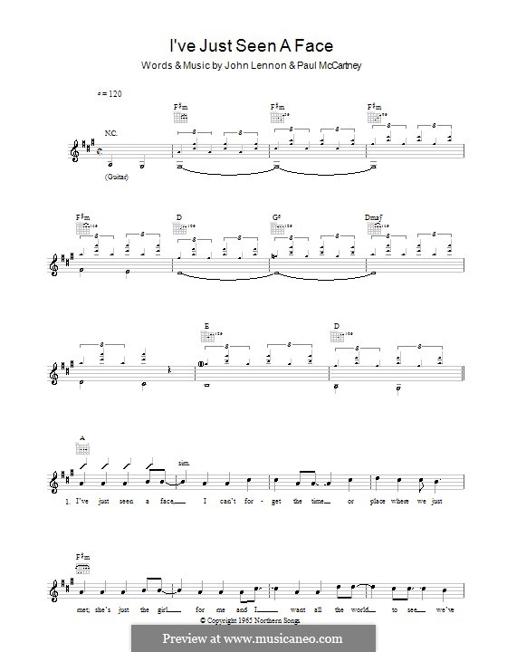 I've Just Seen a Face (The Beatles): Melody line, lyrics and chords by John Lennon, Paul McCartney